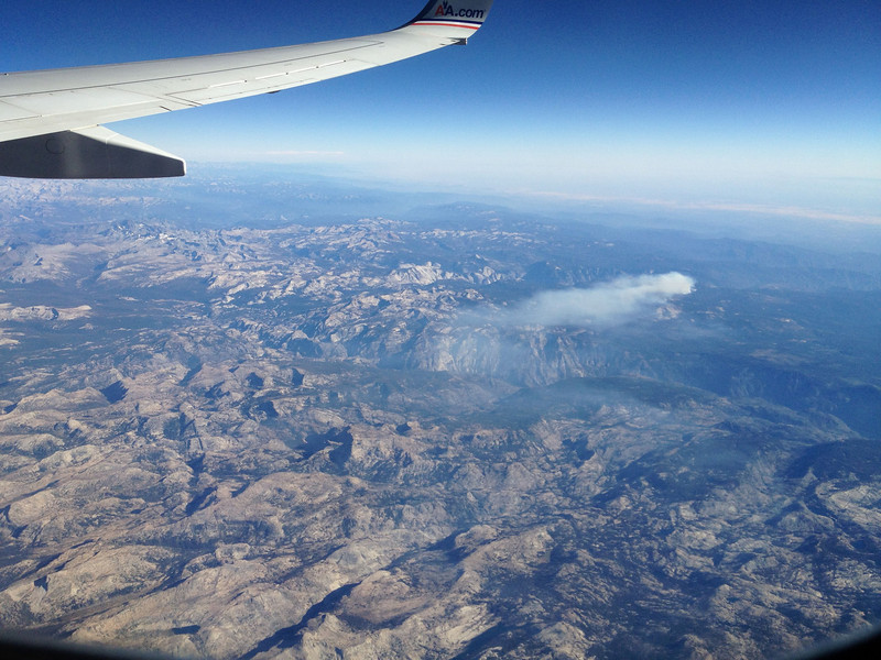 Forest fire in the High SIerra - SFO-DFW