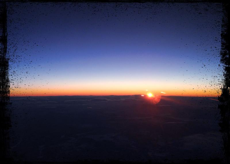 Sunset over Nevada<br /> <br /> DFW - SFO