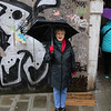 Jodi in the rain in Venice