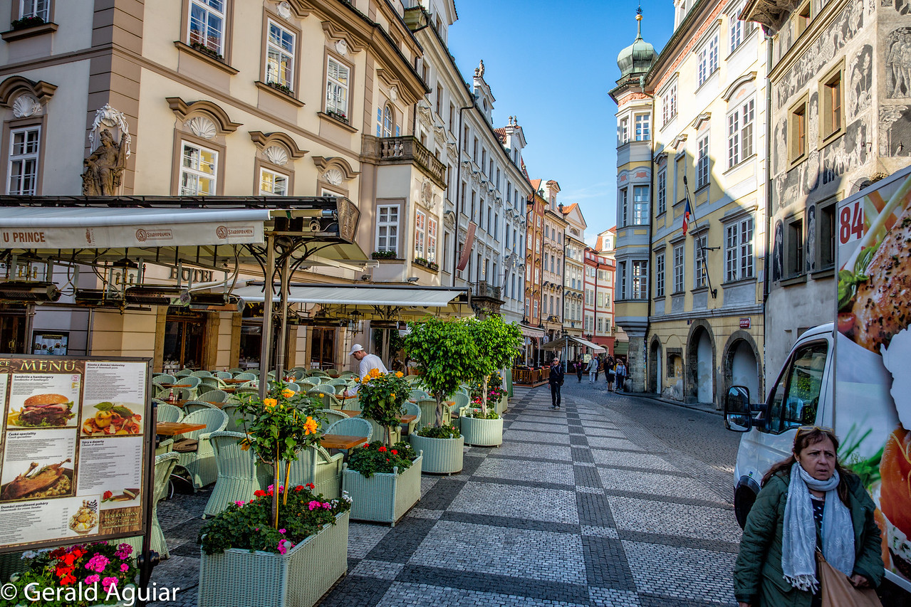Colorful cobblestone street in Old Town Prague