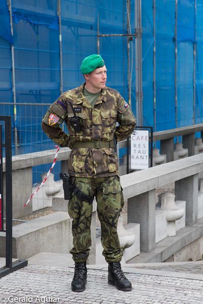 Armed Soldier Guarding a Castle Entrance in Prague