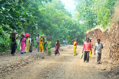 Road construction near villages in rural India in the state of Maharashtra.