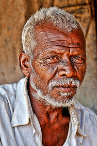Portrait of an old man in his village. Villages in rural India in the state of Maharashtra.