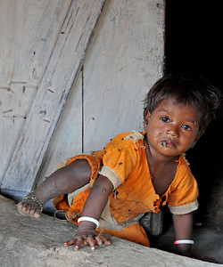 Child in the village. Villages in rural India in the state of Maharashtra.