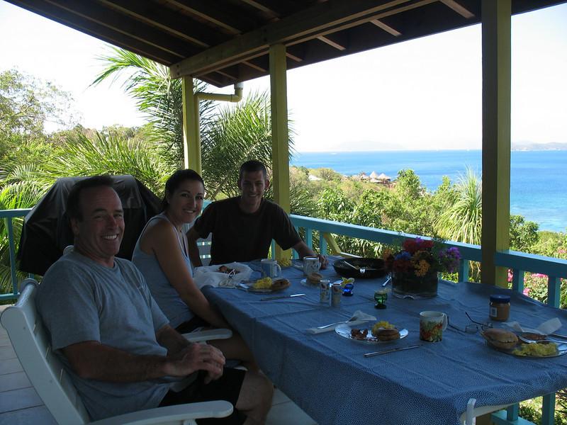 Breakfast on the porch of Island Dream Villa in Nail Bay
