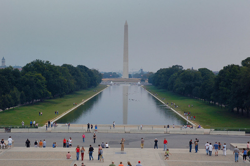 The view from the top of the stairs of the Lincoln Memorial.
