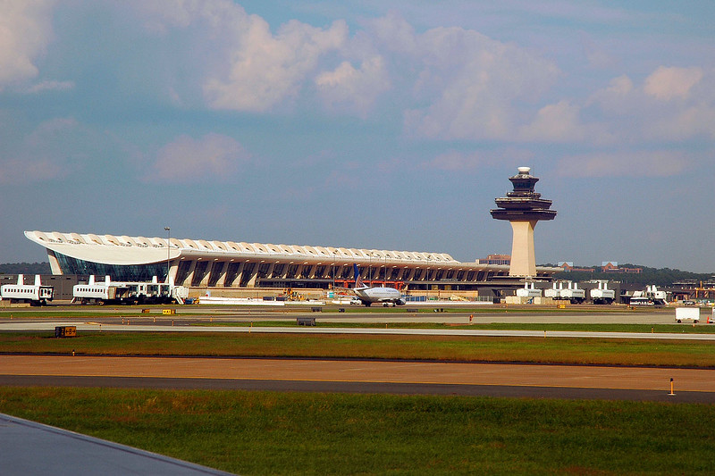 The main terminal and tower at Dulles Airport.