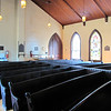 View From Front Side of 1887 Confederate War Memorial Chapel, Richmond, VA<br /> The pews are hand-hewn originals.  Over 1700 Confederate Veterans were honored at the Chapel with funeral services before joining their brothers-in-arms at Hollywood Cemetary in Richmond, VA.