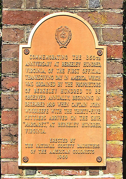 Historical Signage on Brick Columns at Entrance to the Winter Garden - Berkeley Plantation, Charles City, Virginia  7-27-11<br /> On December 4, 1619, a group of 38 English settlers arrived at Berkeley Hundred, about 8,000 acres (32 km²) on the north bank of the James River near Herring Creek in an area then known as Charles Cittie (sic). It was about 20 miles upstream from Jamestown, where the first permanent settlement of the Colony of Virginia was established on May 14, 1607.