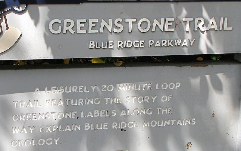 Signage of Greenstone Overlook Trail - Milepost 9 Blue Ridge Parkway  9-3-10