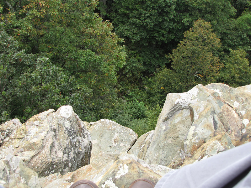 I Turned Around and Faced The Drop - You Can See My Shoes at the Bottom of the Photo - I Was Now Ready to Get Back to Level Land - Ravens Roost - Blue Ridge Parkway  9-3-10
