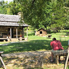 The Guys Take a Break at the Homestead Cabin - Humpback Rocks Visitors Center - Milepost 5.8 - Blue Ridge Parkway  9-3-10