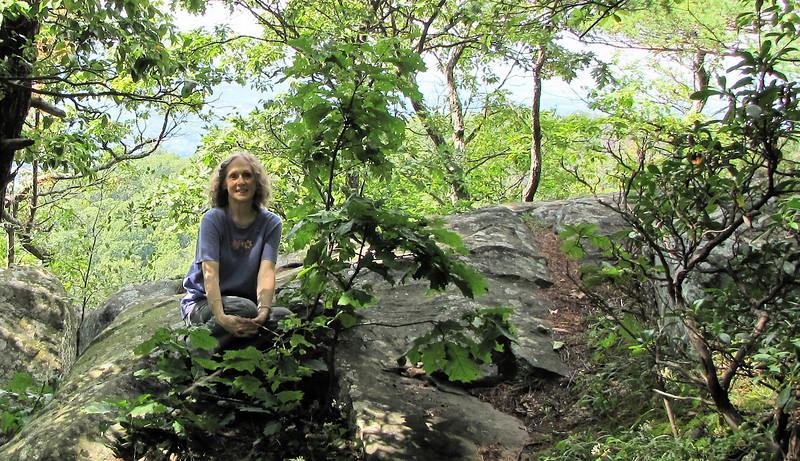Donna on Greenstone Overlook Trail - Photo by Ben - Milepost 9 Blue Ridge Parkway  9-3-10