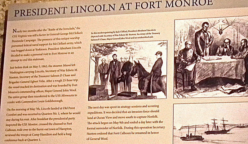 Signage: President Abraham Lincoln - Casemate Museum, Fort Monroe - Hampton, VA<br /> Click on photo for enlarged version for better reading.