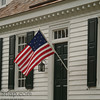 A patriotic display with a flag from 1776 in Colonial National Historic Park in Virgina.