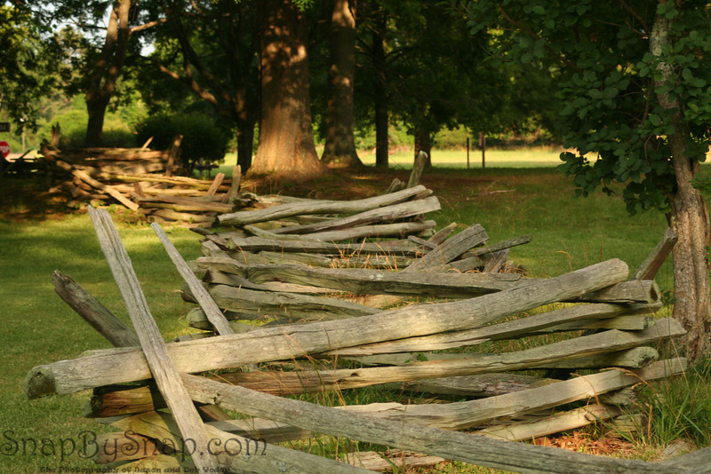 A split rail fence at Colonial National Historic Park in Virgina.