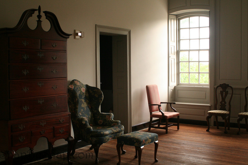 The living area inside a historical home in Colonial National Historic Park in Virgina.
