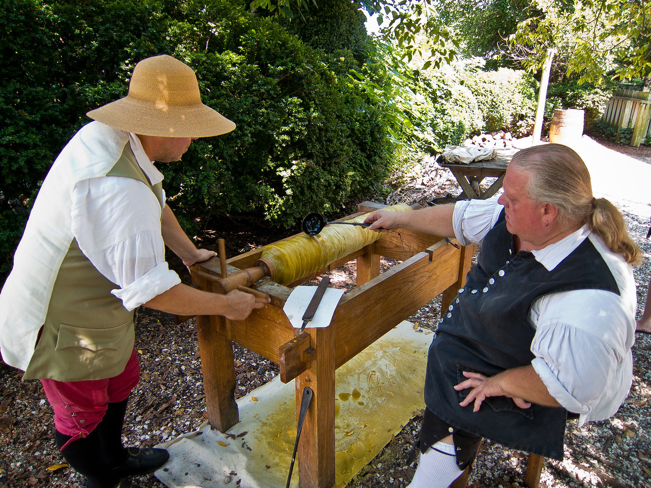 Making a Canon at Colonial Williamsburg - Pouring wax that will create a mold for the barrel.
