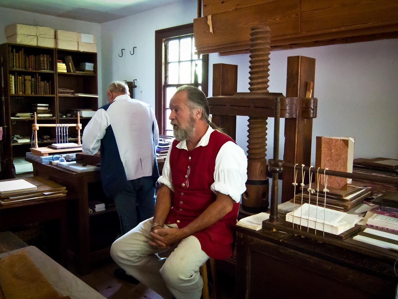 Book Binder at Colonial Williamsburg