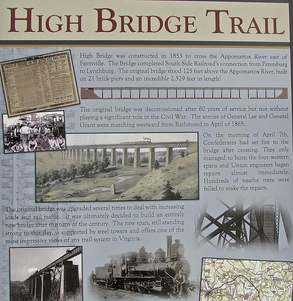 Signage About High Bridge Trail State Park - Farmville, VA