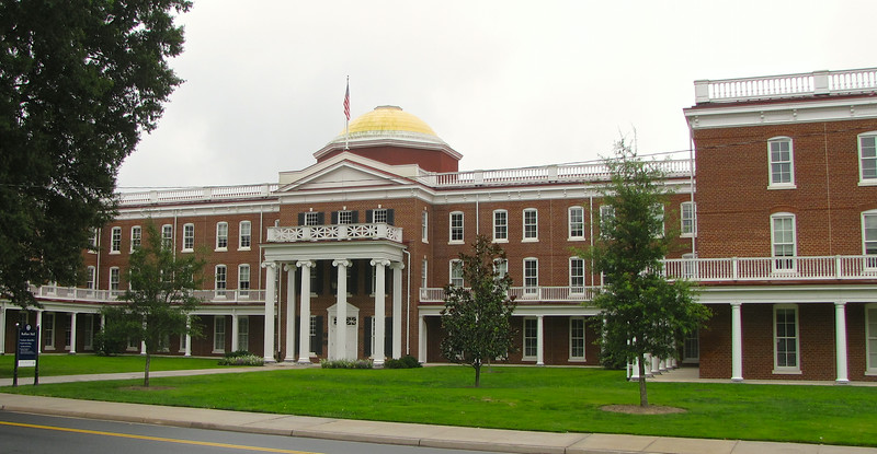Ruffner Hall - Longwood University - Farmville, VA<br /> The flagship of Longwood University – Ruffner Hall with its beautiful Rotunda – was completely destroyed by the Great Fire of 2001 during a major renovation. All of the historic memorabilia, paintings, plaques, and other mementos, including the dome paintings of the interior of the rotunda dome, had been removed prior to the fire. The original Ruffner Hall was constructed in the mid to late 1800's and the Rotunda was built in 1905. The new Ruffner Hall was rebuilt to its former splendor based on the original plans and blueprints obtained from the state archives in Richmond. Although the new structure looks exactly like the old Ruffner on the outside, the inside now features a learning environment for students and faculty. Completed in early 2005, the new complex encompasses over 83,000 square feet and provides 20 classrooms, 63 faculty offices and 28 offices for the Provost and staff of the Office of Academic Affairs. Once again, the gold dome of the Rotunda shines as the hallmark of Longwood University.