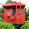 Donna on Caboose at N&W Train Station - Farmville, VA