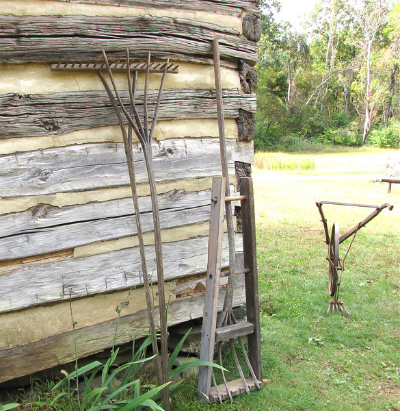 Handmade Tools on Back of Cabin - Humpback Rocks Homestead - Blue Ridge Parkway, Virginia
