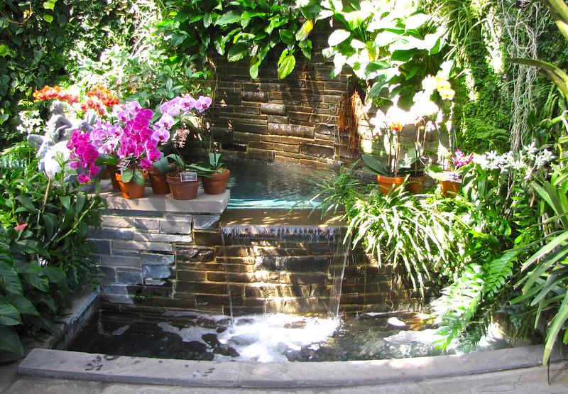 Fountain Area with Orchids - Conservatory Garden - Lewis Ginter Botanical Gardens - Richmond, VA