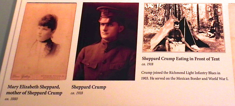 Sheppard Crump & Elizabeth Adam Crump - 1913 to 1975 - Meadow Farm - Glen Allen, VA<br /> Sheppard Crump, grandson of John & Virginia, acquired Meadow Farm in 1913.  When deployed with the Richmond Light Infantry Blues, Sheppard corresponded with family, particulary his mother, Mary, about the status of the farm.  Sheppard moved to Meadow Farm after he returned from WWI in 1919.  He remained in the military, rising to the rank of Major General and becoming the Adjutant General of the State of VA.  Although significantly scaled down from previous generations, Sheppard and his wife, Elizabeth, maintained the farm operation.  The Crumps focused on orchards, gardens, and raising some livestock and poultry.