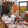 Fine Dining With All Wood Table - Gather, aka Hallsboro Store<br /> Notice the chandelier with candles.  The farm painting is one of Melissa Carr's works of art.  So much for the eyes to behold.