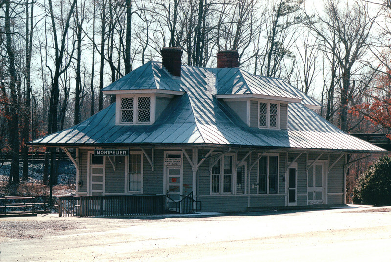 BEFORE Restoration:  Montpelier Train Station, Orange County, VA  1-21-01