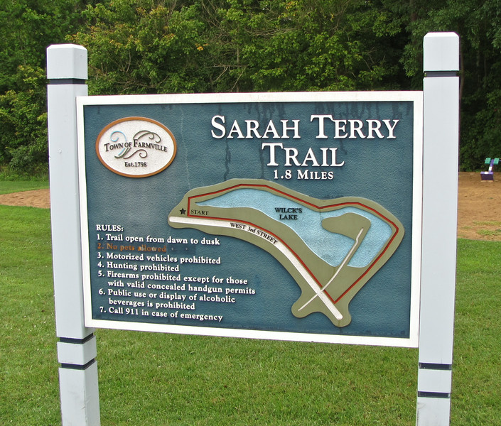 Signage - Sarah Terry Trail at Wilck's Lake - Farmville, VA