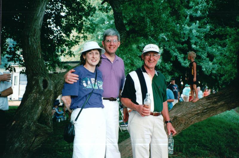 Donna, Randal and Bob - Batteau Festival, Scottsville, VA  6-20-01