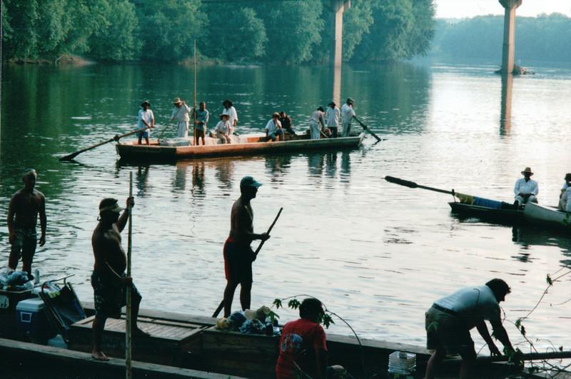 Batteaus Docking and Departing - Batteau Festival, Scottsville, VA  6-20-01