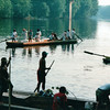 Batteaus Docking and Departing - Batteau Festival, Scottsville, VA  6-20-01