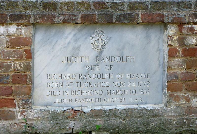 Judith Randolph's Grave Marker in Cemetery Plot - Tuckahoe, Thomas Jefferson's Boyhood Home - Richmond, VA