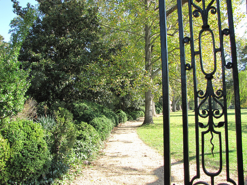 Entrance Gate and Path to Home on the Left and James River on the Right - Westover Plantation - Charles City, VA  10-23-10<br /> Westover was named for Henry West, 4th Lord Delaware and son of Thomas West, Governor of Virginia.