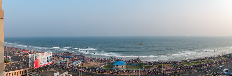 Panoramic view of the preparations by the Eastern Naval Command, Visakhapatnam to celebrate the Navy Day on December 4, marking the day Indian Navy Missile Boats carried out a deadly attack on Karachi Harbour in the 1971 Indo-Pak war. RK Beach, Visakhapatnam (Vizag), Andhra Pradesh, India.