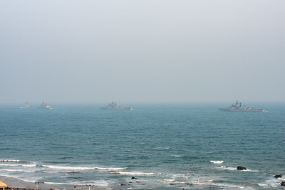 The Eastern Naval Command, Visakhapatnam celebrated the Navy Day on December 4, marking the day Indian Navy Missile Boats carried out a deadly attack on Karachi Harbour in the 1971 Indo-Pak war.  Public could view from RK Beach, the manoeuvres by Destroyers, Corvettes, fast attack craft and Landing Ships, beach assault by Marine Commandos, Sky Diving, close range anti-aircraft firing, band performance, formation anchoring, and a host of other exercises. A total of 17 ships, 13 aircraft, and a submarine took part in the grand display and demonstration.  Visakhapatnam (Vizag), Andhra Pradesh, India.