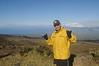 Tom on break from bike ride down from Haleakala volcano peak