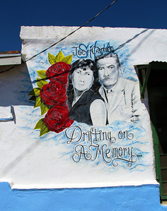 A memorial on a wall of a modest house close to the Mexico border
