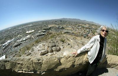 Carol overlooking El Paso and Ciudad Juarez