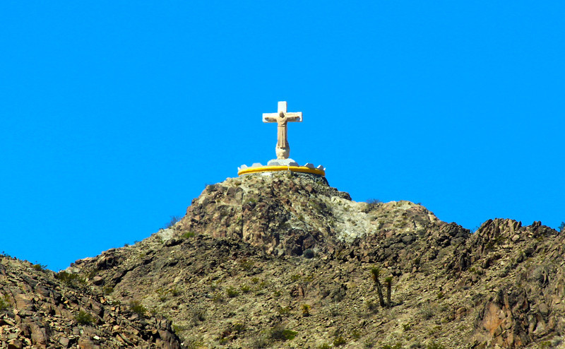 A Christ image on the mountain above Juarez