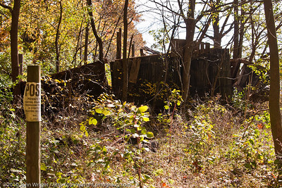 Abandoned building at the end of the path.