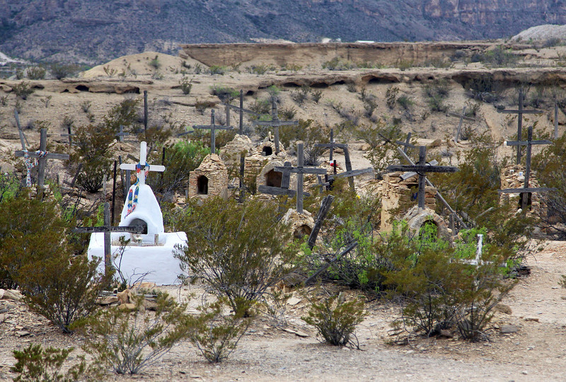 The old Terlinqua ghost town cemetery.  2000 people lived here during its mining days.