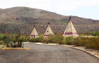Tepee-shaped picnic slots at a roadside turnout