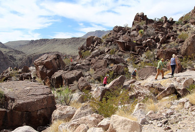 Our group clambering about the rocks at the Rio Grande lookout point