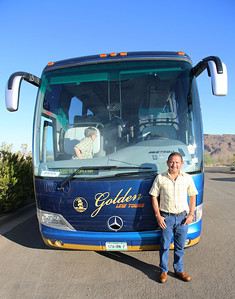Our bus is an elegant Mexican one, with our most excellent driver, Lalo