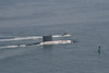 A chilean submarine leaving the naval base in San Diego