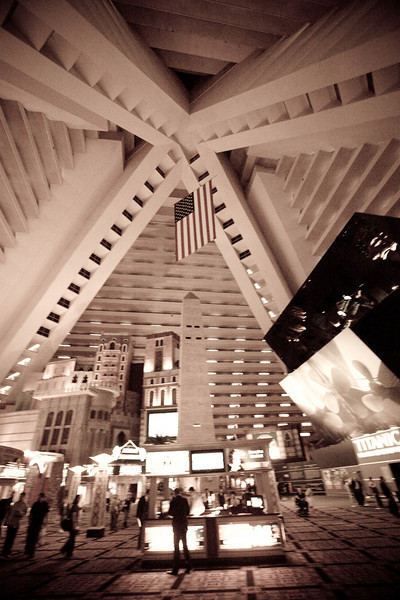 Just so you don't reaaaaaly think you're in Egypt, Luxor has a several stories tall US flag hanging from the ceiling